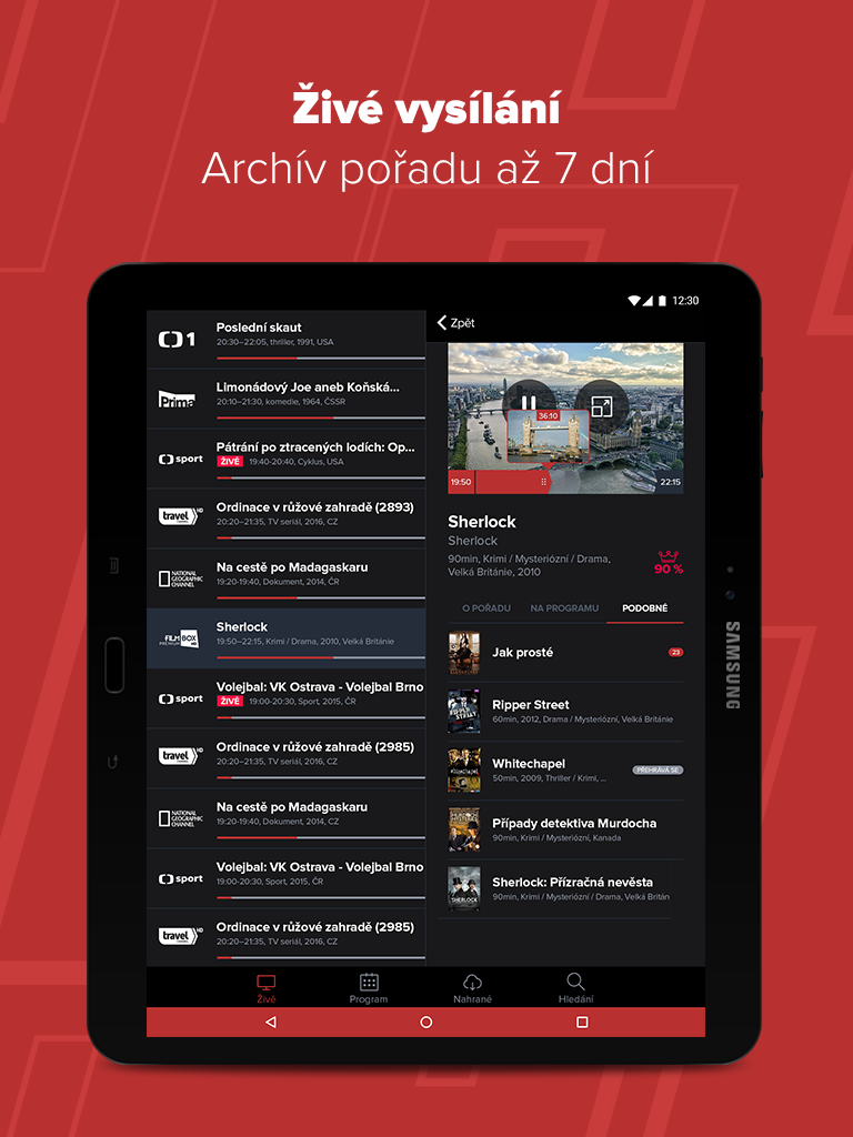 PAMICO TV Archiv tablet